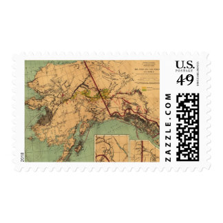 Vintage Map of Gold and Coal in Alaska (1898) Postage