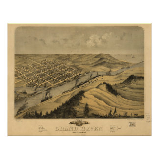 Vintage Map of Grand Haven MI (1868) Poster