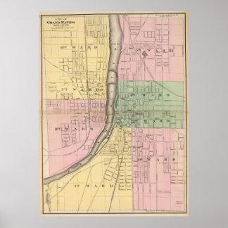 Vintage Map of Grand Rapids Michigan (1873) Poster