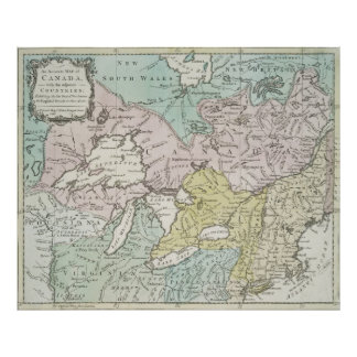 Vintage Map of Great Lakes & Canada (1761) Poster