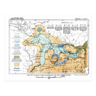 Vintage Map of Great Lakes Postcard