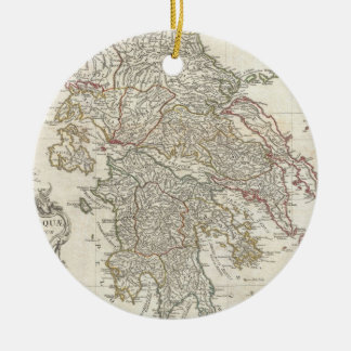 Vintage Map of Greece (1794) Double-Sided Ceramic Round Christmas Ornament