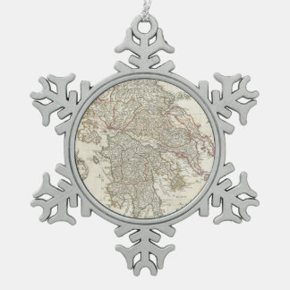 Vintage Map of Greece (1794) Snowflake Pewter Christmas Ornament