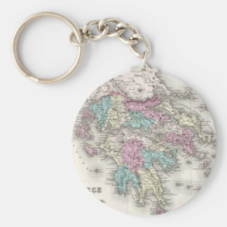 Vintage Map of Greece (1855) Basic Round Button Keychain