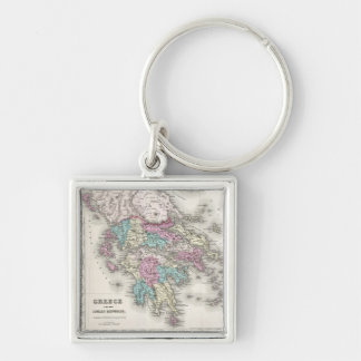 Vintage Map of Greece (1855) Silver-Colored Square Keychain