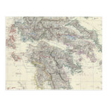 Vintage Map of Greece (1861) Post Card