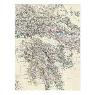 Vintage Map of Greece (1861) Postcard