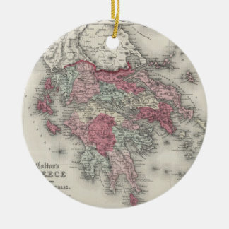 Vintage Map of Greece (1865) Ceramic Ornament