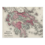 Vintage Map of Greece (1865) Post Cards