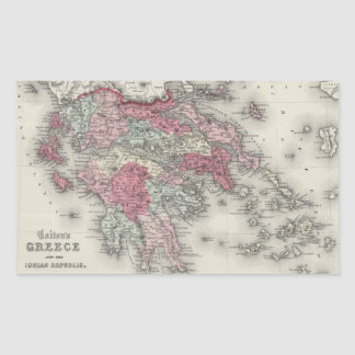 Vintage Map of Greece (1865) Rectangular Sticker