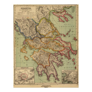 Vintage Map of Greece (1903) Poster