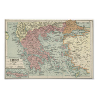 Vintage Map Of Greece Poster