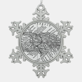 Vintage Map of Haiti (1911) Snowflake Pewter Christmas Ornament