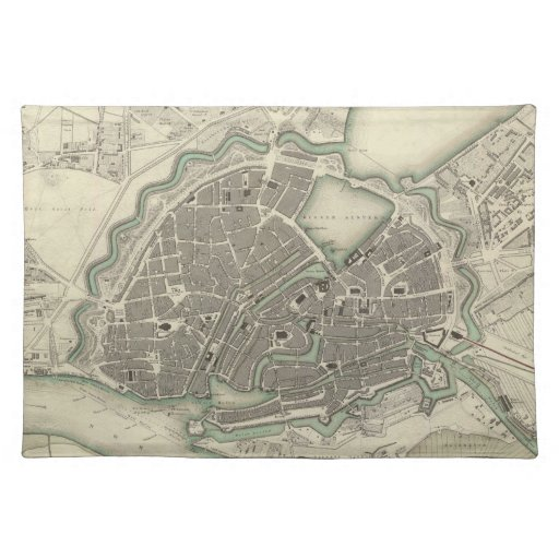 Vintage Map of Hamburg Germany (1841) Placemats
