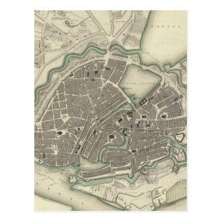 Vintage Map of Hamburg Germany (1841) Post Card