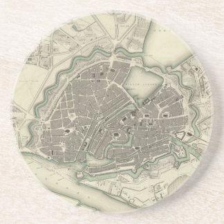 Vintage Map of Hamburg Germany (1841) Sandstone Coaster