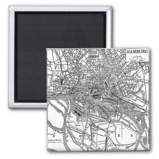Vintage Map of Hamburg Germany (1911) 2 Inch Square Magnet