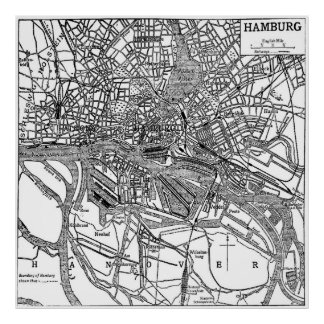 Vintage Map of Hamburg Germany (1911) Poster