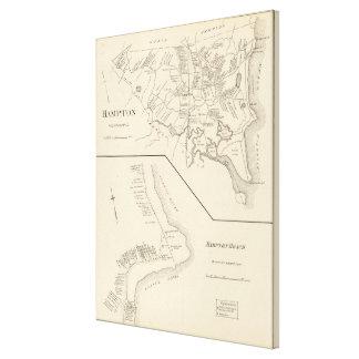 Vintage Map of Hampton Beach NH (1892) Canvas Print