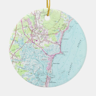 Vintage Map of Hampton Beach NH (1957) Ceramic Ornament