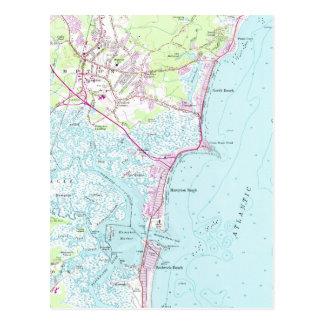 Vintage Map of Hampton Beach NH (1957) Postcard