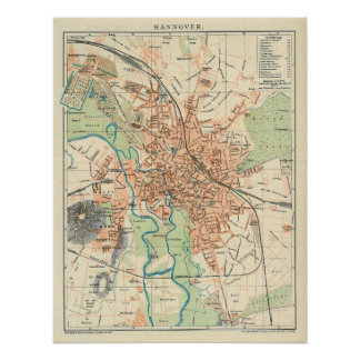 Vintage Map of Hanover Germany (1895) Print