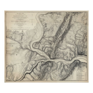 Vintage Map of Harpers Ferry (1863) Poster