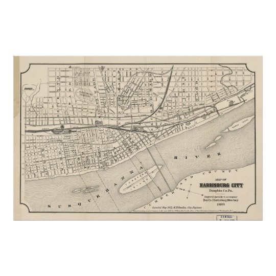 Vintage Map of Harrisburg PA (1877) Poster