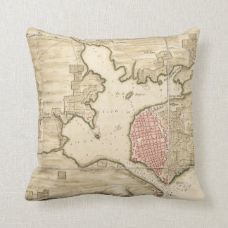Vintage Map of Havana Cuba (1740) Throw Pillow