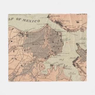 Vintage Map of Havana Cuba (1898) 2 Fleece Blanket