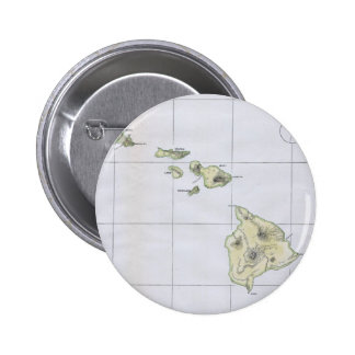 Vintage Map of Hawaii (1883) Pinback Button