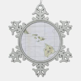 Vintage Map of Hawaii (1883) Snowflake Pewter Christmas Ornament