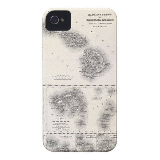 Vintage Map of Hawaii and New Zealand (1855) iPhone 4 Case