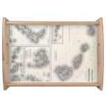Vintage Map of Hawaii and New Zealand (1855) Serving Platter