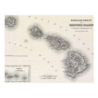 Vintage Map of Hawaii and New Zealand (1855) Postcard