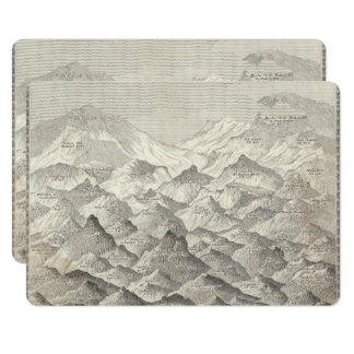 Vintage Map of Hills and Mountains in UK 1837 Card