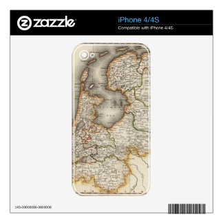 Vintage Map of Holland (1817) Skins For iPhone 4