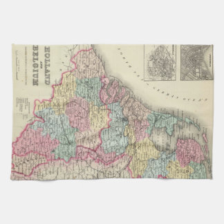 Vintage Map of Holland and Belgium (1856) Hand Towel
