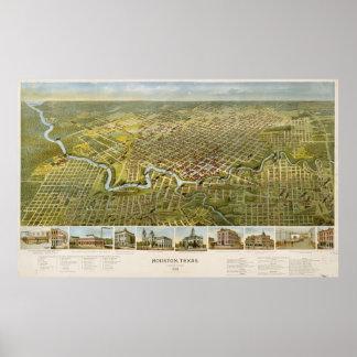 Vintage Map of Houston Texas (1891) Poster