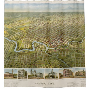 Vintage Map Of Houston Texas 1891 Shower Curtain