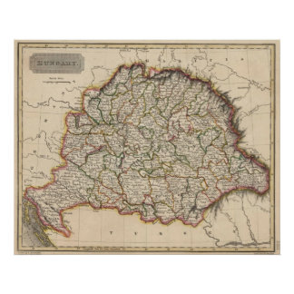 Vintage Map of Hungary (1817) Poster