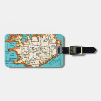 Vintage Map of ICELAND Luggage Tag