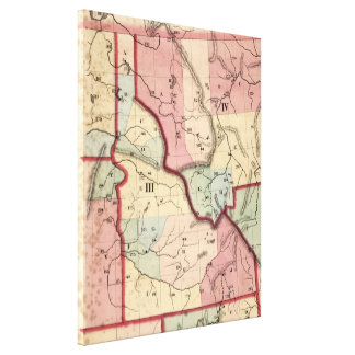 Vintage Map of Idaho (1866) Canvas Print