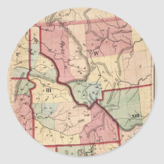 Vintage Map of Idaho (1866) Classic Round Sticker