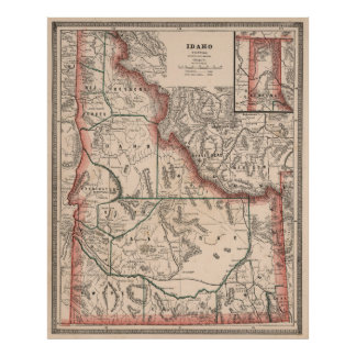 Vintage Map of Idaho (1883) Poster
