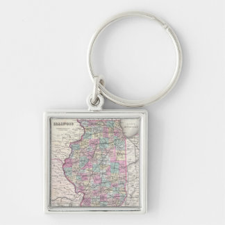 Vintage Map of Illinois (1855) Silver-Colored Square Keychain