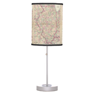 Vintage Map of Illinois (1874) Table Lamp