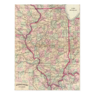 Vintage Map of Illinois (1874) Post Cards