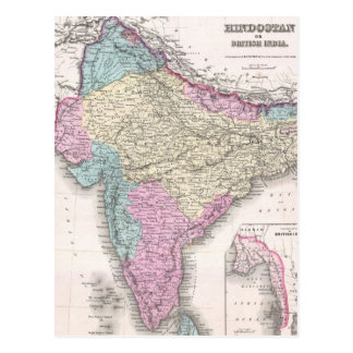 Vintage Map of India (1855) Postcard