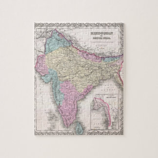 Vintage Map of India (1855) Jigsaw Puzzles